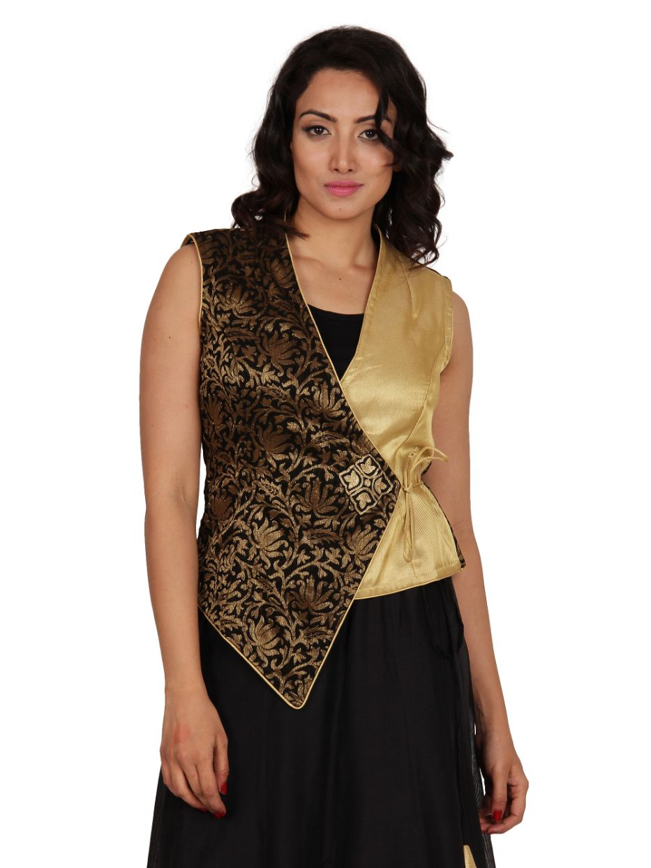 Black-Golden Jacquard & Zari Embroidered Angrakha Jacket by Neemrana